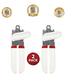 Best Smooth Edge Stainless Steel Can Opener Manual Built In Bottle Opener 2 Pack