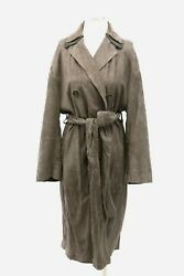 Nwt9995 Brunello Cucinelli Women Leather Suede Db Overcoat W/beadcollar42m A191