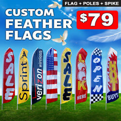 15ft Custom Single Sided Swooper Advertising Flag Feather Banner + Pole + Spike
