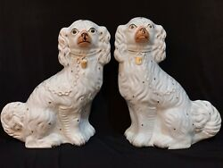 Large Authentic Antique Staffordshire King Charles Dog Pair Figurines