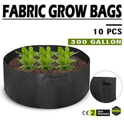 10 Pack 300 Gallon Fabric Plant Grow Bags With Handles Free Hydroponic System