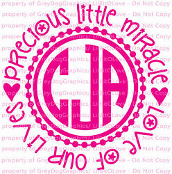 12quot; Precious Little Miracle Monogram Wall Baby Decal Infant Sticker Nursery