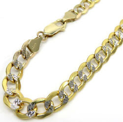 14k Yellow Gold Pave Mens Diamond Cut 7mm Cuban Link Chain Necklace 20 - 28