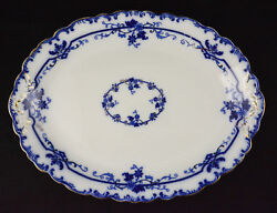 Johnson Brothers Oxford Pattern Flow Blue Platter 14 1/4 By 10 1/2 No Crazing