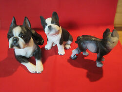 Lot of vintage Boston terrier figurines cast iron Sandicast & Living Stone