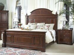 4 Piece Heritage Mahogany Traditional King Size Sleigh Bed Set
