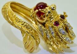 WOW! One of a kind vintage 22k goldDiamonds&Ruby Chinese Imperial Dragon ring