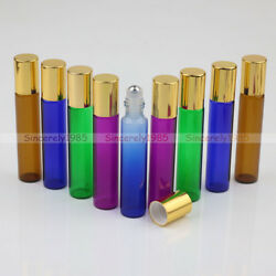 1x-100x 10ml Glass Roll On Bottles Roller For Perfume Essential Oils Mix Colors