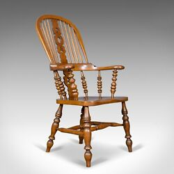 Antique Windsor Armchair Victorian Yorkshire Broad Arm Elbow Chair Circa 1900