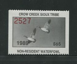 1989 Crow Creek Sioux Indian Reservation Waterfowl Stamp 7 Mint Never Hinged Vf