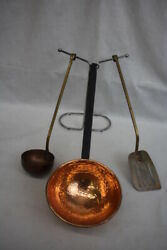 Lot Of 3 Pc. Vintage Copper Kitchen Hanging Tools Dipper, Ladle And Spatula