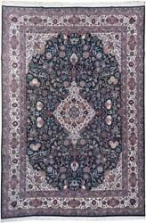 8' X 12' Dark Tone With Roses Handmade Green Wool And Silk Traditional Rug