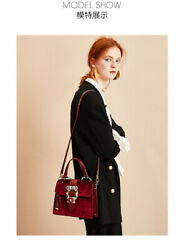 Women's bag 2019 new European and American fashion Kelly bag velvet inlaid drill