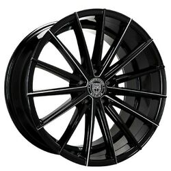 Qty4 20 Staggered Wheels And Tires Lexani Pegasus Black W Cnc Accents