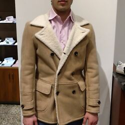 ISAIA NAPOLI Luxury Lamb Suede Double Breasted Jacket *MADE IN ITALY* 46 IT