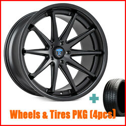 4/set 19 Staggered Rohana Rc10 Matte Black Wheels And Tires