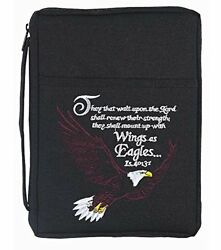 Black Bald Eagle 8.5 X 10.5 Embroidered Polyester Bible Cover Case X-large