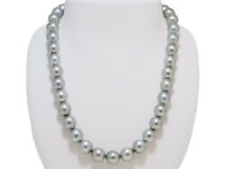 Tahitian Black Pearl 10mmx11.5mm Necklace Gray With Green And Pink Overtones