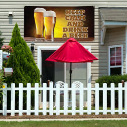 Vinyl Banner Sign Keep Calm And Drink Drink A Beer Marketing Advertising Brown