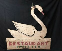 Antique Painted Sheet Iron Restaurant Sign Swan Shaped