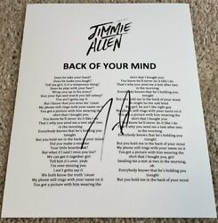 Jimmie Allen Signed Autograph Back Of Your Mind Lyrics Sheet W/exact Proof