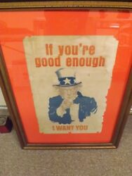 Original Large Wwi Uncle Sam Patriotic Poster By James Montgomery