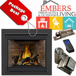 NAPOLEON GX70 ASCENT GAS FIREPLACE DIRECT VENT KIT TRIM OLD TOWN RED REMOTE BLOW