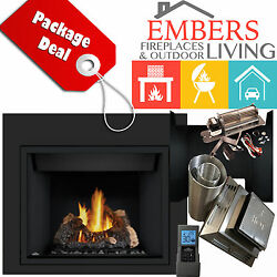 NAPOLEON HD40 LOG  GAS FIREPLACE PANELS REMOTE VENTING KIT DIRECT VENT BLOWER