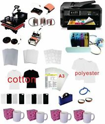 15x15 8in1 Pro Sublimation Heat Press 11x17 Epson Printer 771020 Ciss Kit