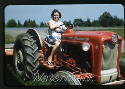 1962 Amateur 35mm Photo Slide Lady On Ford 601 Workmaster Tractor