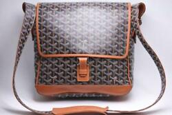 GOYARD Grand Blue MM Shoulder Bag Messenger Crossbody Black Brown Auth Mint Rare