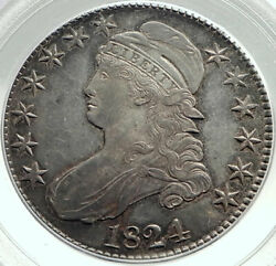 1824 United States Capped Liberty Bust Half Dollar Silver Us Coin Pcgs Au I75903