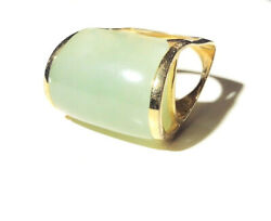Antique Jewelry - 1920s Art Deco Gold Plated Pale Green Mutton Fat Jade Ring 7