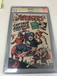 Avengers #4 CGC 9.2 Signed STAN LEE Captain America 1st Silver Age app GRR