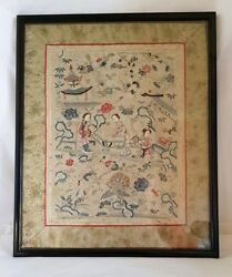Chinese Export Cantonese Silk Embroidery. Depicting Oriental Figures.late C19th