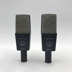 USED AKG C414 XLS Matched Pair of Studio Condenser Microphones C 414 Stereo Set