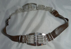 Antique Epns Silver Plated Brown Leather Belt And Buckle 29.5inches A70017