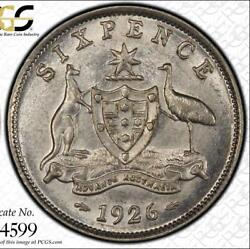 1926 Australia Sixpence 2 With Serif Pcgs Graded Ms62 - Rare Keydate Coin