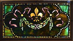 Antique American Stained Glass Window wChunk JewelsFleur d'lis and Wreath
