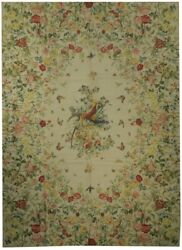 9x12 Hens Butterflies Flowers Double Hand-woven Ivory 102 X 142 In Rug
