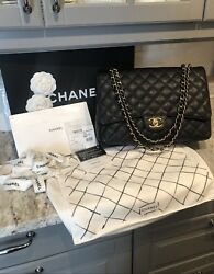 100% Authentic CHANEL Classic Quilted Caviar MAXI Black Gold Double Flap Bag 😍