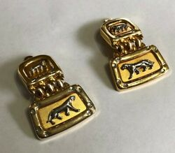 Vintage Panther gold silver link clip on earrings puma animal