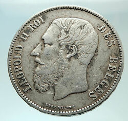 1870 Belgium With King Leopold Ii And Lion Genuine Silver 5 Francs Coin I75941