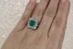 14k White Gold Vintage Ring W/ Natural Emerald 2.55 Ct- Diamonds 1.28ct. Size 8