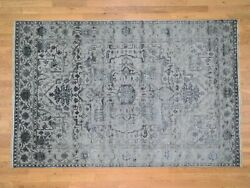 6and039x9and0391 Wool And Silk Hilo Pile Silver Fine Oriental Handknotted Rug G44920