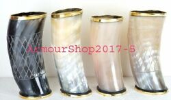 Set Of 4 Natural Ox Horn Tankard Viking Drinking Chalice Stein For Beer Wine S7