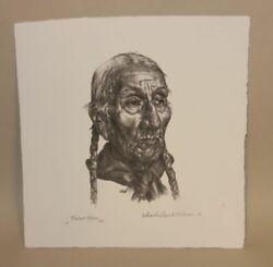 1980 Charles Banks Wilson Pencil Signed Lithograph Tribal Elder Edition Of 100