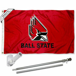 Ball State Cardinals Flag Pole And Bracket Gift Set Package