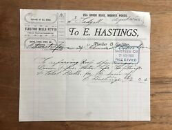 1903 Antique E.hastings Plumber And Gasfitter Moonee Ponds Receipt Invoice P52