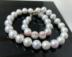 Australia Top 1912-14mm Real South Sea Perfect Round White Pearl Necklace 14k